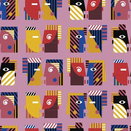 Kissing people seamless colorful geometric pattern on purple background