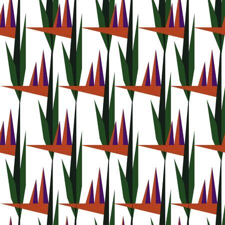 Seamless geometric triangular orange purple flower pattern with bird of paradise flower on white