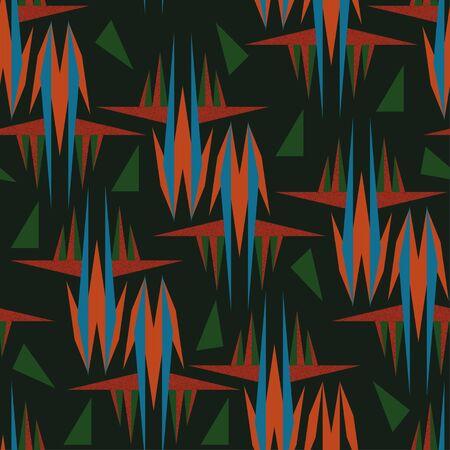 Seamless geometric triangular flower pattern with bird of paradise flower in sky blue-orange-green colors on dark green