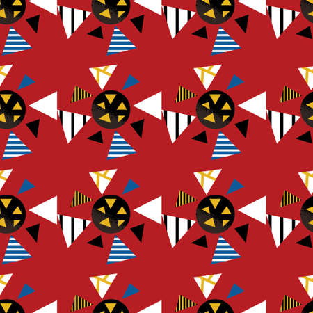 Seamless geometric graphic pattern of black viruses inspired by russian avant garde. Colorful pattern on red background