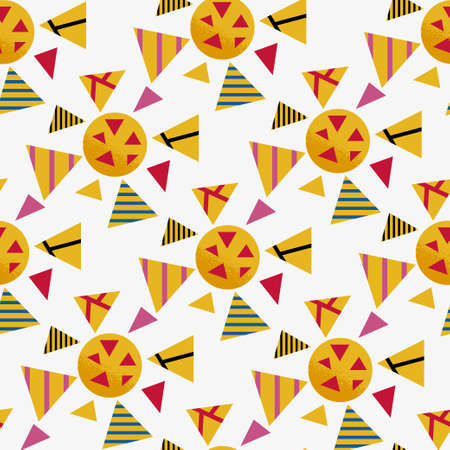 Seamless geometric graphic pattern of yellow viruses inspired by russian avant garde. Colorful pattern on white background