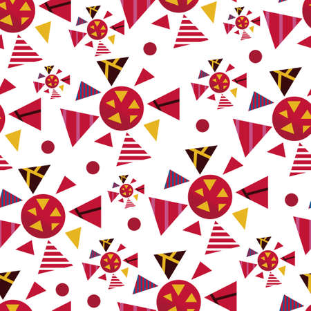 Seamless geometric graphic pattern of viruses inspired by russian avant garde. Colorful pattern on white background with red dots Vectores