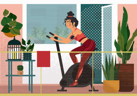 Work out on the veranda. A woman is cycling on exercise bike on the balcony on the fresh air. On the balcony we can see houseplants, a little table with a cage and candles