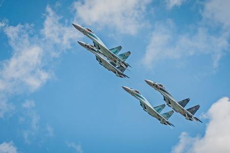 Voronezh region, Russia - 2017 year. Group flight of russian aerobatics team on SU-30 and SU-35