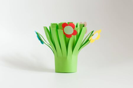 bouquet of colorful handmade spring flowers created from paper. Stok Fotoğraf