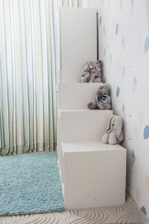 Toy storage rack in childrens's room.