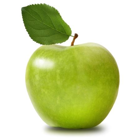 分離された青リンゴ 写真素材