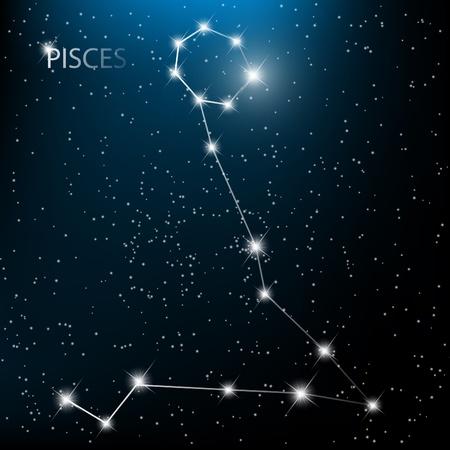 constelacion: Piezas del zodiaco signo vector brillantes estrellas en el cosmos.