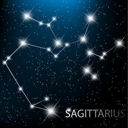 astrologie: Schütze Vektor Tierkreiszeichen hellen Sterne im Kosmos.