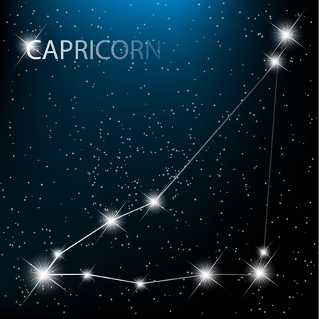 Capricorn vector Zodiac sign bright stars in cosmos. Illustration