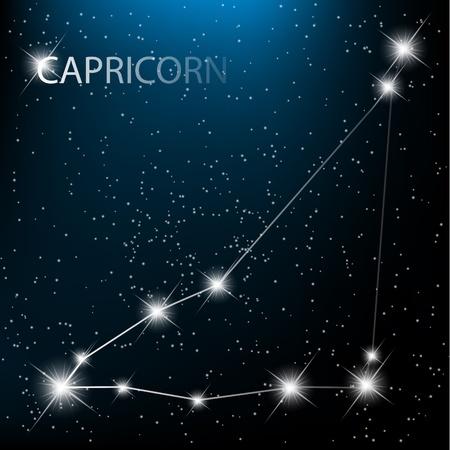 costellazioni: Capricorno vettore Segno zodiacale stelle luminose nel cosmo.