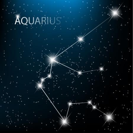 constelaciones: Signo del zodíaco de Acuario vector de firmar brillantes estrellas en el cosmos. Vectores