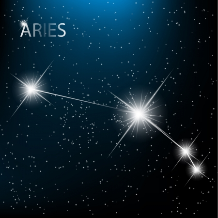 Aries vector Zodiac sign bright stars in cosmos.
