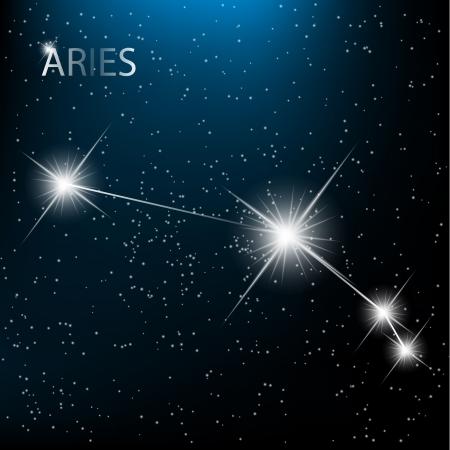 constelaciones: Aries Zodiac vector de firmar brillantes estrellas en el cosmos.