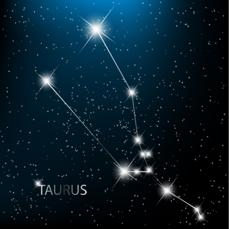 prognosis: Taurus vector Zodiac sign bright stars in cosmos.