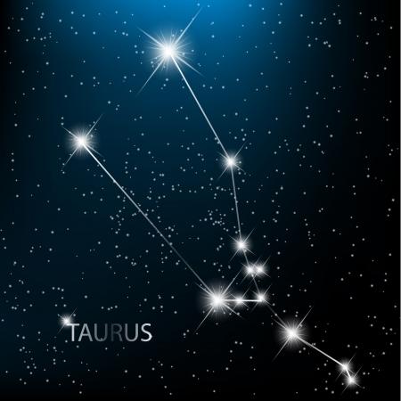 astronomie: Taurus Vektor Tierkreiszeichen hellen Sterne im Kosmos.
