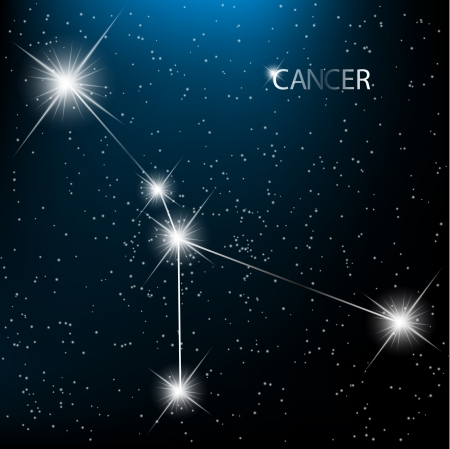 Cancer vector Zodiac sign bright stars in cosmos.