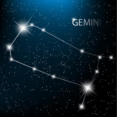 costellazioni: Gemini Zodiac vettore accedi stelle luminose nel cosmo.