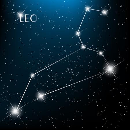 Zodiacal Leo firmar brillantes estrellas en el cosmos. Ilustración de vector