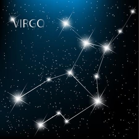virgo: Zodiacal Virgo signo vector brillantes estrellas en el cosmos.