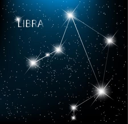 costellazioni: Segno zodiacale Bilancia vettore accedi stelle luminose nel cosmo.