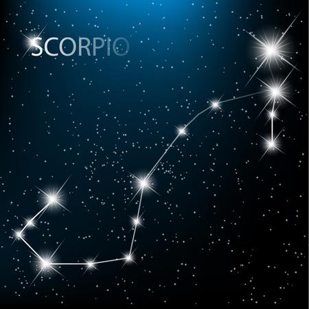 skorpion: Skorpion Vektor Tierkreiszeichen hellen Sterne im Kosmos.