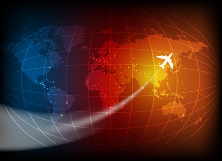 Business background with map of the world and airplane  Illustration