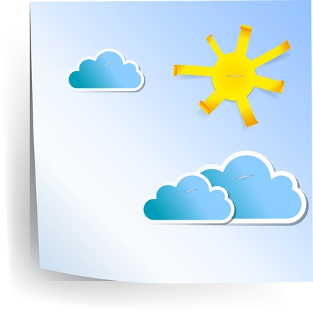 Sun and clouds on paper sheet Stock Vector - 12711404