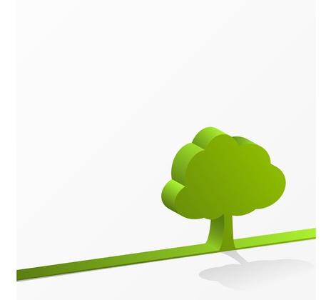Eco green design Green tree line Stock Vector - 12711403