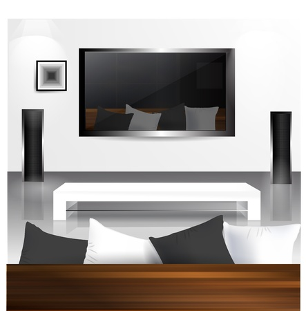 flat screen tv: Interior with LCD tv screen with reflection living room in it