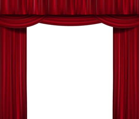 Opened red curtain isolated Vector