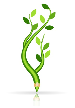 Green pencil - tree branch isolated Stock Vector - 12711402