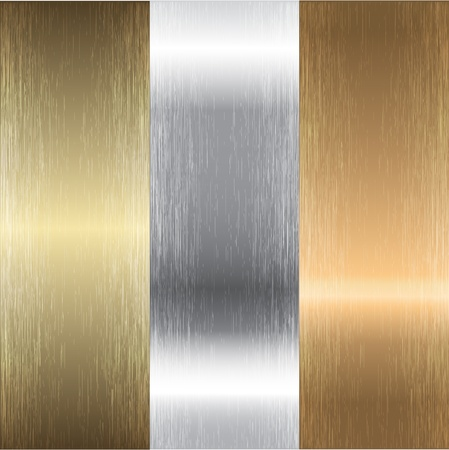Aluminum, bronze and brass textures Vector