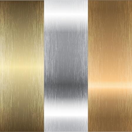 Aluminum, bronze and brass textures Illustration
