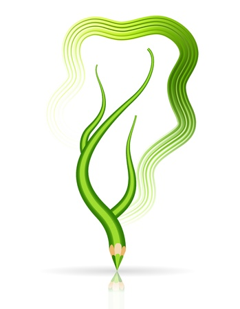 Green pencil - tree branch isolated Stock Vector - 12711415