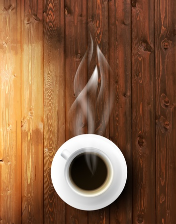 chicchi di caff�: Tazza di caff� contro sfondo in legno Vettoriali