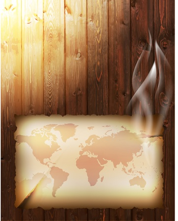 burnt wood: background with old burnt paper sheet with map Illustration