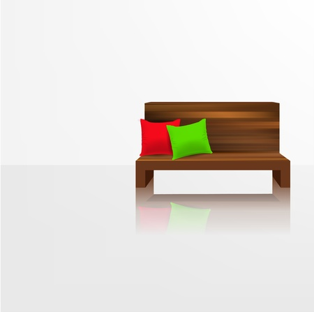 Wooden couch with pillows against empty white wall and reflection Stock Vector - 12711406