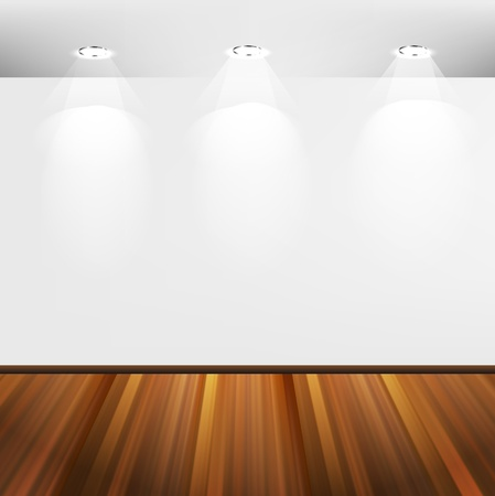 Interior with white wall and wooden floor  Stock Vector - 12711414