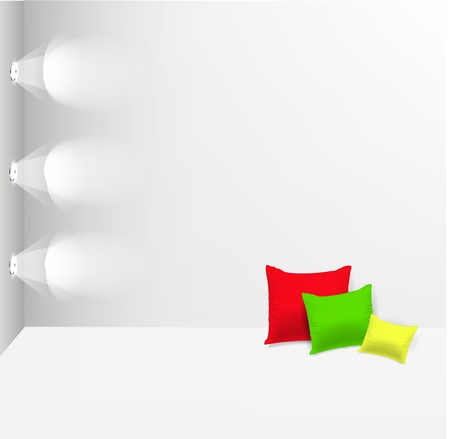 Empty wall with spot lights and pillows on white floor Stock Vector - 12711413