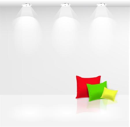 furnishing: Lege muur met spots en kussens op de witte vloer Stock Illustratie