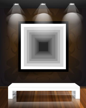 Wall and wooden floor Interior with frame on wall Stock Vector - 12711433