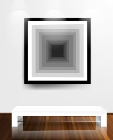 White wall and wooden floor Interior with frame on wall Stock Vector - 12711421