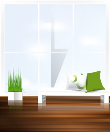 living room wall: White couch with pillows against window