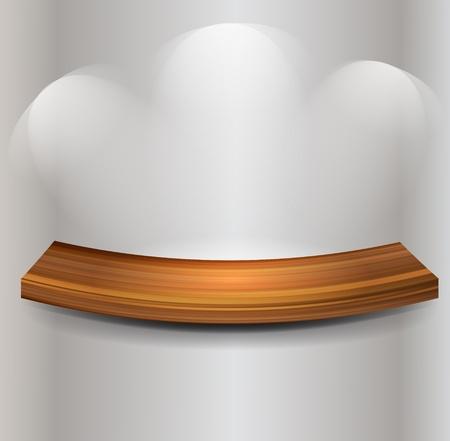 Wooden empty shelf on gray wall Vector