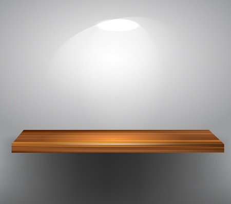 Wooden empty shelf on gray wall Vector