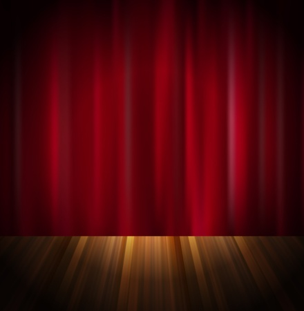 Red curtain with wooden floor Vector