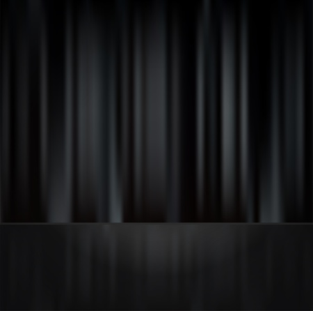 Black curtain with raflection on floor Vector