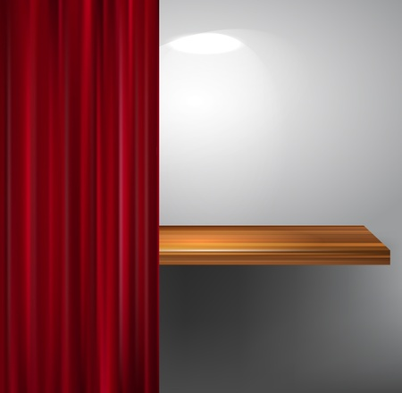 wooden empty shelf and red curtain Stock Vector - 12711430