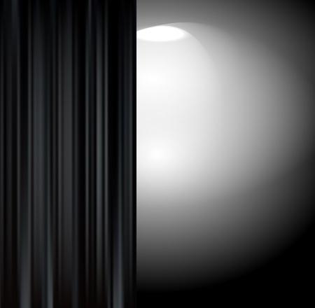 Rideau noir dans une pièce sombre Vecteurs